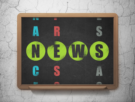 News concept: Painted green word News in solving Crossword Puzzle on School Board background, 3d render photo
