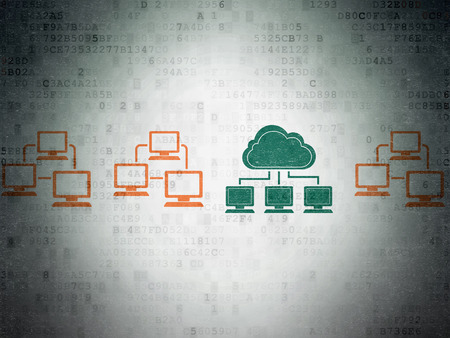 lan: Cloud computing concept: row of Painted multicolor lan computer network icons around green cloud network icon on Digital Paper background, 3d render Stock Photo