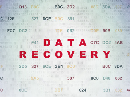 data recovery: Information concept: Painted red text Data Recovery on Digital Paper background with Hexadecimal Code, 3d render