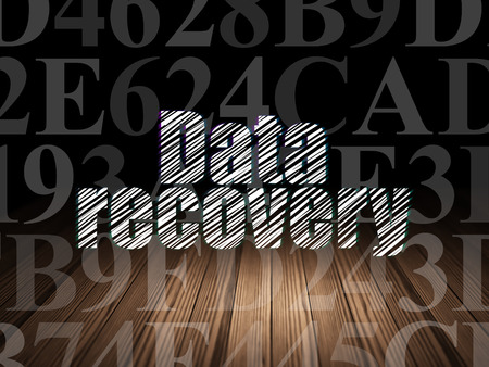data recovery: Data concept: Glowing text Data Recovery in grunge dark room with Wooden Floor, black background with  Hexadecimal Code, 3d render