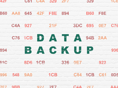 Data concept: Painted green text Data Backup on White Brick wall background with Hexadecimal Code, 3d render photo