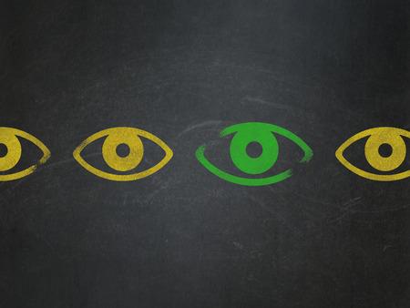 eye green: Concepto de seguridad: fila de iconos de ojo amarillo pintadas alrededor icono del ojo verde en el fondo de la Junta Escolar, 3d