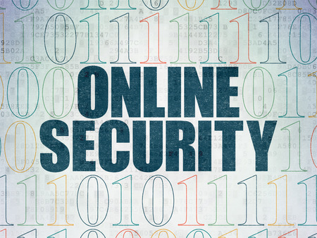 online privacy: Privacy concept: Painted blue text Online Security on Digital Paper background with Binary Code, 3d render