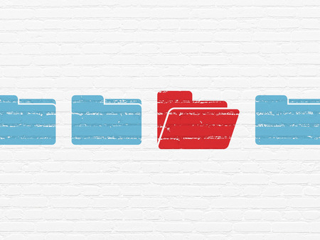 buisnes: Business concept: row of Painted blue folder icons around red folder icon on White Brick wall background, 3d render