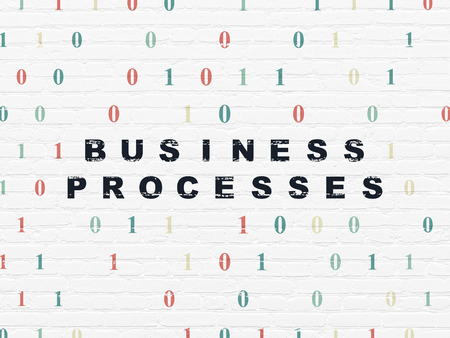 buisnes: Business concept: Painted black text Business Processes on White Brick wall background with Binary Code, 3d render
