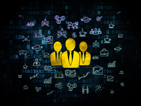 buisnes: Business concept: Pixelated yellow Business People icon on Digital background with  Hand Drawn Business Icons, 3d render