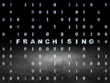 dirty bussines: Finance concept: Glowing text Franchising in grunge dark room with Dirty Floor, black background with Binary Code, 3d render