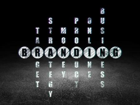 dirty room: Marketing concept: Glowing word Branding in solving Crossword Puzzle in grunge dark room with Dirty Floor, black background, 3d render