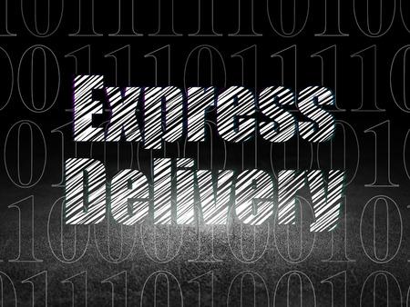 sala parto: Finanza concetto: testo Glowing consegna espressa in grunge stanza buia con Dirty Floor, sfondo nero con codice binario, rendering 3d
