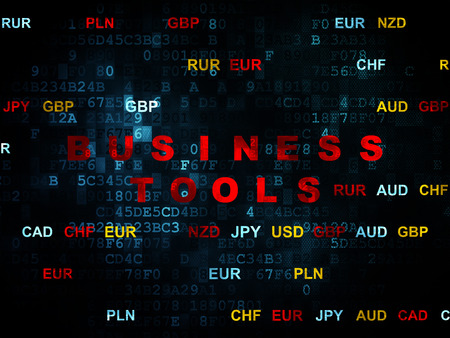 Finance concept: Pixelated red text Business Tools on Digital wall background with Currency, 3d render photo