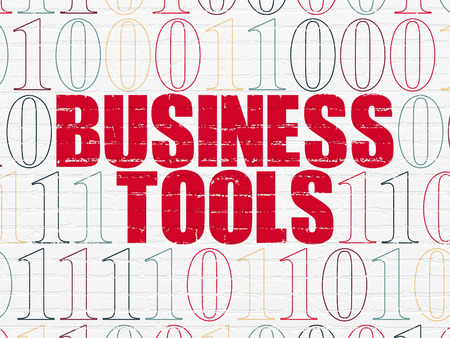 Business concept: Painted red text Business Tools on White Brick wall background with Binary Code, 3d render photo