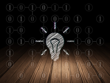 buisnes: Business concept: Glowing Light Bulb icon in grunge dark room with Wooden Floor, black background with Scheme Of Binary Code, 3d render
