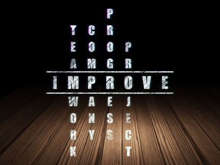 Business concept: Glowing word Improve in solving Crossword Puzzle in grunge dark room with Wooden Floor, black background, 3d render photo