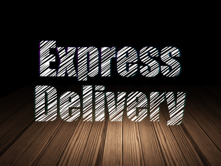 sala parto: Business concetto: il testo Glowing consegna espressa in grunge stanza buia con pavimento in legno, sfondo nero, rendering 3d