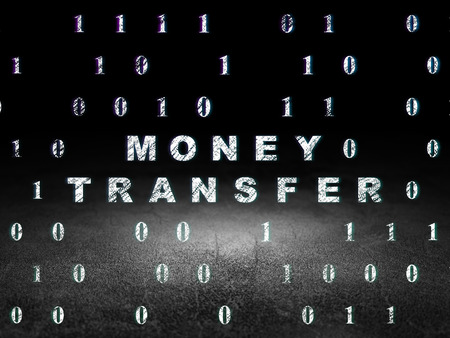 buisnes: Finance concept: Glowing text Money Transfer in grunge dark room with Dirty Floor, black background with Binary Code, 3d render