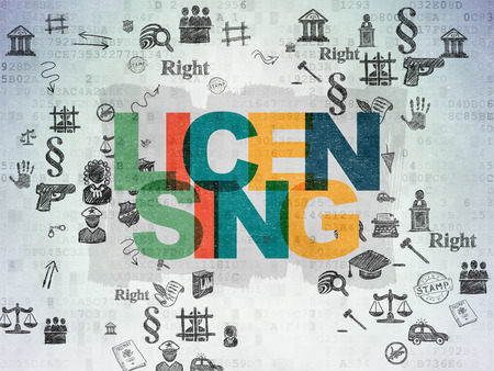 licensing: Law concept: Painted multicolor text Licensing on Digital Paper background with Scheme Of Hand Drawn Law Icons, 3d render