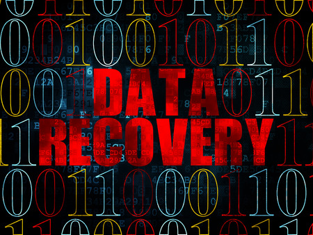 data recovery: Information concept: Pixelated red text Data Recovery on Digital wall background with Binary Code, 3d render