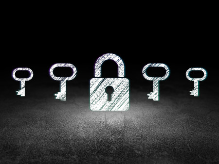 dirty room: Privacy concept: row of Glowing key icons around closed padlock icon in grunge dark room Dirty Floor, dark background, 3d render
