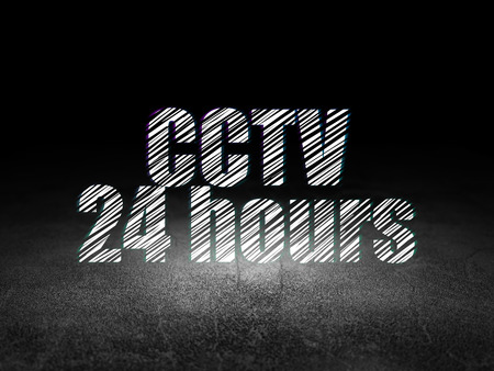 dirty room: Protection concept: Glowing text CCTV 24 hours in grunge dark room with Dirty Floor, black background, 3d render
