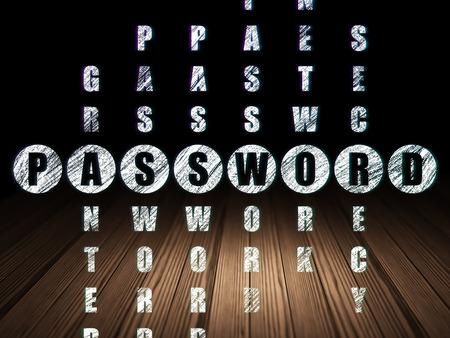 Security concept: Glowing word Password in solving Crossword Puzzle in grunge dark room with Wooden Floor, black background, 3d render photo