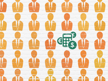 Business concept: rows of Painted orange business man icons around green calculator icon on White Brick wall background, 3d render photo