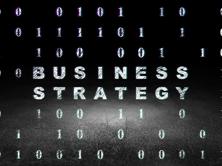 buisnes: Finance concept: Glowing text Business Strategy in grunge dark room with Dirty Floor, black background with Binary Code, 3d render Stock Photo
