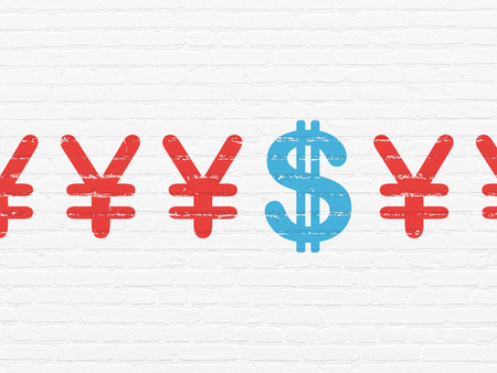 pay wall: Currency concept: row of Painted red yen icons around blue dollar icon on White Brick wall background, 3d render Stock Photo