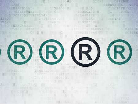 r regulation: Law concept: row of Painted blue registered icons around black registered icon on Digital Paper background, 3d render