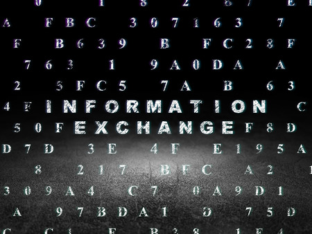 dirty room: Data concept: Glowing text Information Exchange in grunge dark room with Dirty Floor, black background with Hexadecimal Code, 3d render