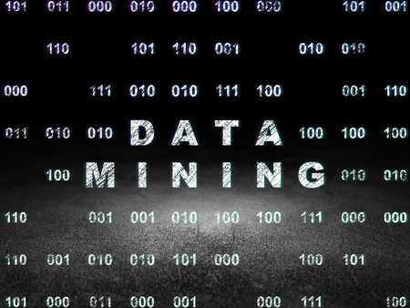 dirty room: Data concept: Glowing text Data Mining in grunge dark room with Dirty Floor, black background with Binary Code, 3d render Stock Photo