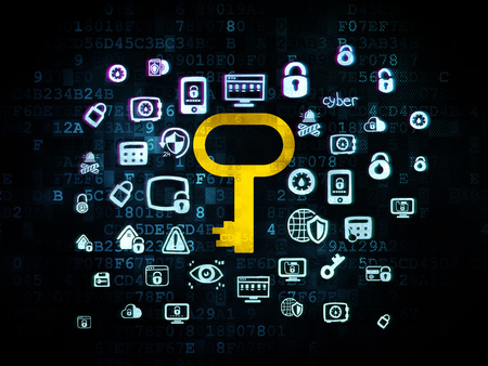 Safety concept: Pixelated yellow Key icon on Digital background with Hand Drawn Security Icons, 3d render
