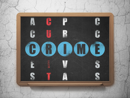 crime solving: Security concept: Painted blue word Crime in solving Crossword Puzzle on School Board background, 3d render