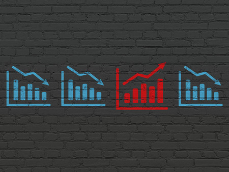 buisnes: Business concept: row of Painted blue decline graph icons around red growth graph icon on Black Brick wall background, 3d render