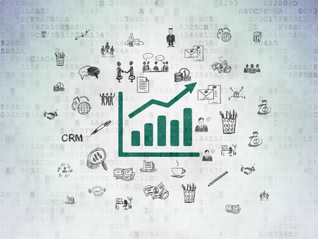 Finance concept: Painted green Growth Graph icon on Digital Paper background with  Hand Drawn Business Icons, 3d render photo