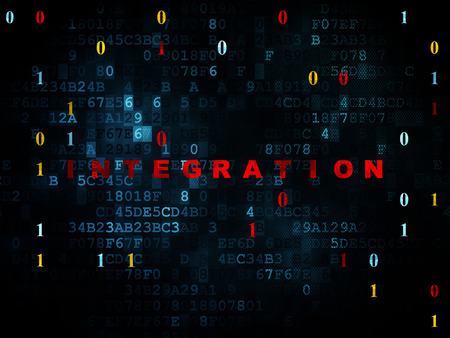 Business concept: Pixelated red text Integration on Digital wall background with Binary Code, 3d render photo