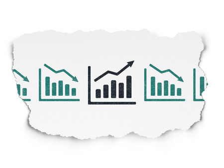 buisnes: Finance concept: row of Painted blue decline graph icons around black growth graph icon on Torn Paper background, 3d render
