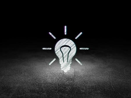 Business concept: Glowing Light Bulb icon in grunge dark room with Dirty Floor, black background, 3d render