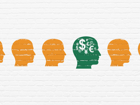 buisnes: Finance concept: row of Painted orange head icons around green head with finance symbol icon on White Brick wall background, 3d render