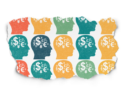 buisnes: Finance concept: Painted multicolor Head With Finance Symbol icons on Torn Paper background, 3d render Stock Photo
