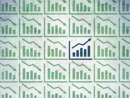 buisnes: Finance concept: rows of Painted green decline graph icons around blue growth graph icon on Digital Paper background, 3d render Stock Photo