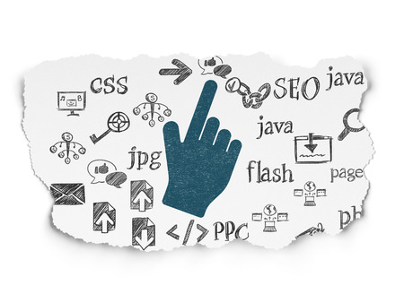Web development concept: Painted blue Mouse Cursor icon on Torn Paper background with  Hand Drawn Site Development Icons, 3d render photo
