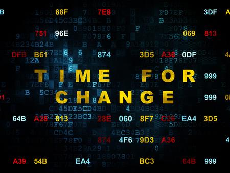 cronologia: Concepto de línea de tiempo: Pixelated amarilla Tiempo de texto para el Cambio en la pared de fondo digital con código hexadecimal, 3d