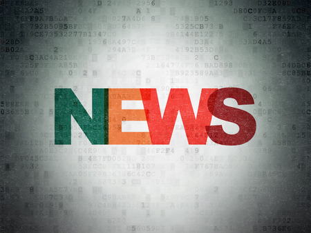 ニュース概念: デジタル ペーパーの背景、3 d のレンダリングに色付きのテキスト ニュースを塗装
