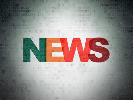 Nachrichten-Konzept: gestrichene mehrfarbigen Text Nachrichten auf Digital-Papier Hintergrund, 3d render Lizenzfreie Bilder