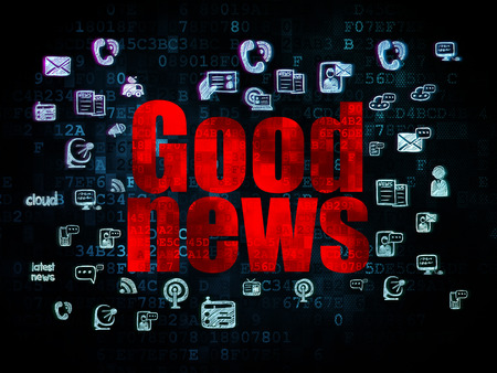 breaking the code: News concept: Pixelated red text Good News on Digital background with  Hand Drawn News Icons, 3d render