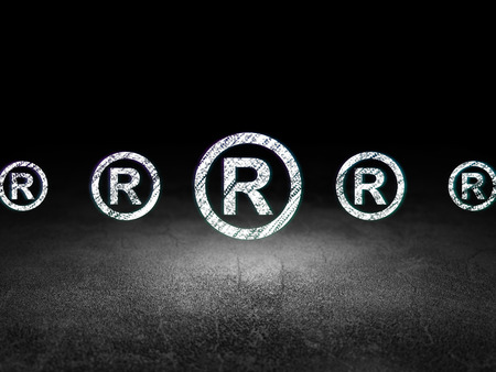 dirty room: Law concept: row of Glowing registered icons around registered icon in grunge dark room Dirty Floor, dark background, 3d render Stock Photo