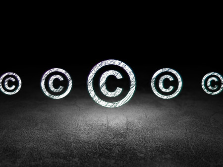 dirty room: Law concept: row of Glowing copyright icons around copyright icon in grunge dark room Dirty Floor, dark background, 3d render
