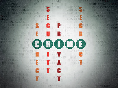 crime solving: Safety concept: Painted green word Crime in solving Crossword Puzzle on Digital Paper background, 3d render