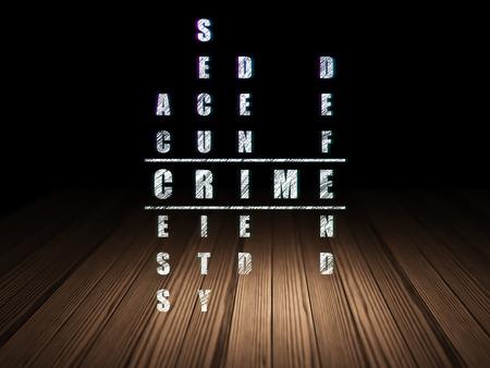 crime solving: Security concept: Glowing word Crime in solving Crossword Puzzle in grunge dark room with Wooden Floor, black background, 3d render