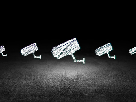 dirty room: Protection concept: row of Glowing cctv camera icons around cctv camera icon in grunge dark room Dirty Floor, dark background, 3d render Stock Photo